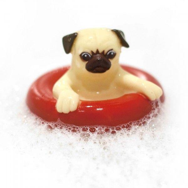 Bouchon baignoire chien carlin Pug bath