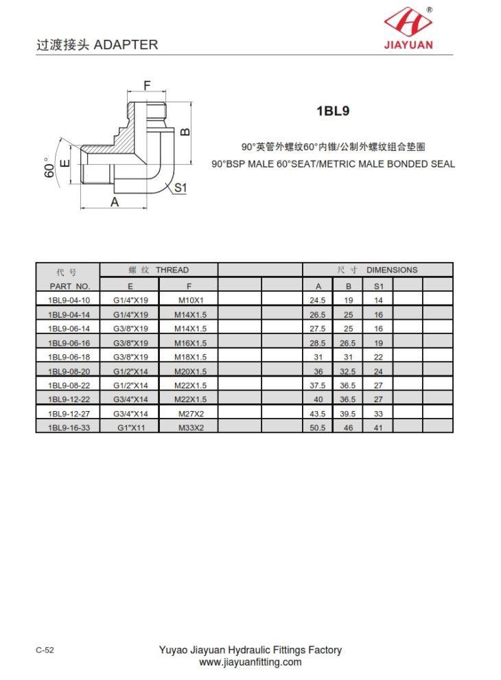 China custom elbow male bsp 60 metric bonded fitting
