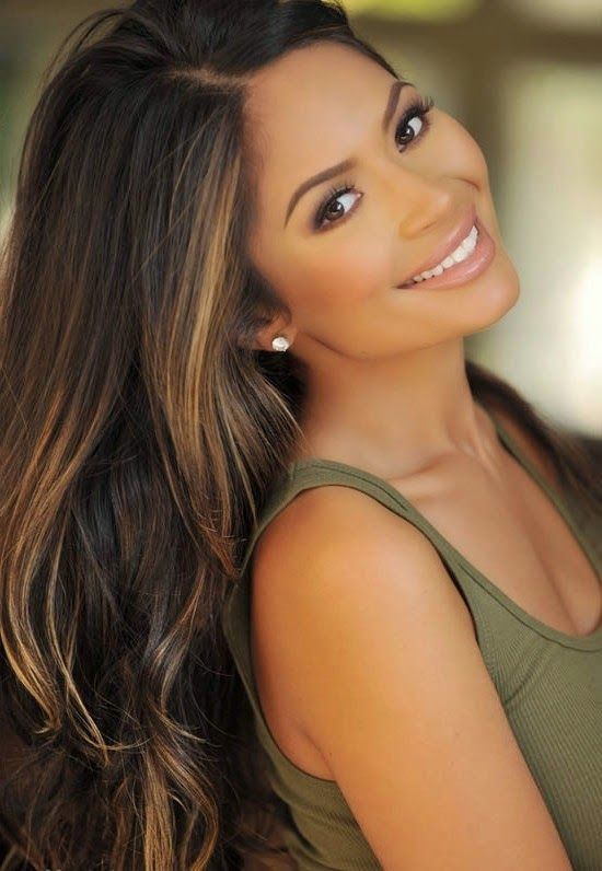 Best 25 black hair with highlights indian ideas on pinterest black hair with dark caramel highlights pmusecretfo Images