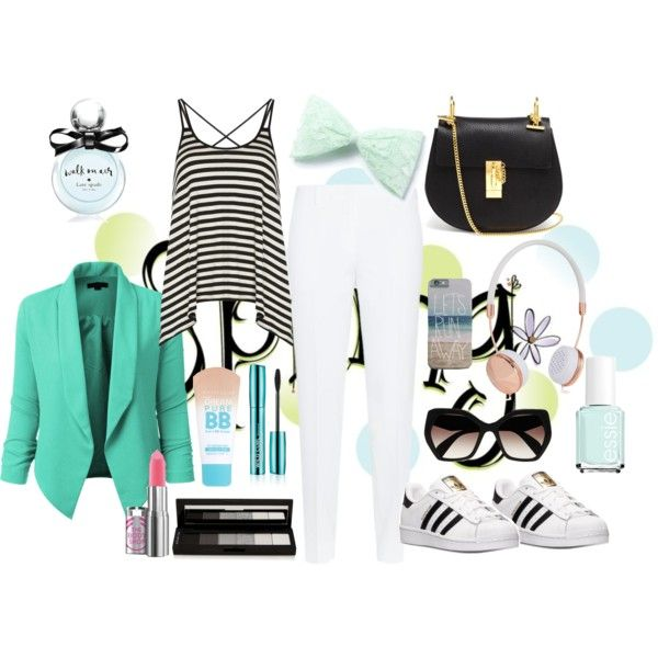 Loving spring in light green by lobyart on Polyvore featuring polyvore, moda, style, Dorothy Perkins, Theory, adidas, Chloé, Prada, Frends, shu uemura, Maybelline, Kate Spade and Essie