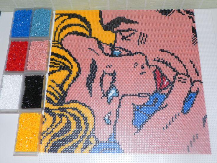 Kiss V by Roy Lichtenstein portrait hama beads (50x50cm and 10609 beads) by steliane