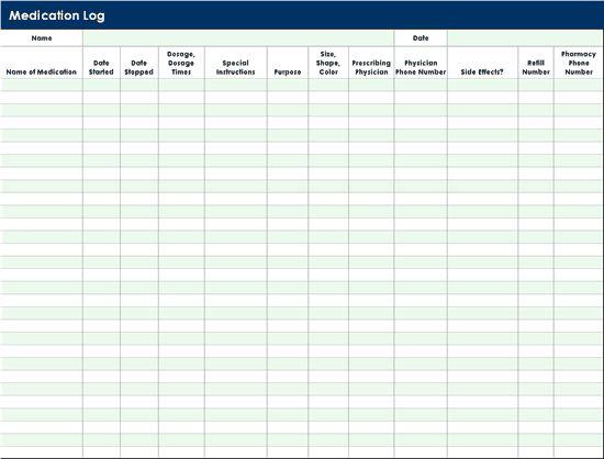 Medication Log Templates Office Com Templates