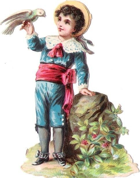 Oblaten Glanzbild scrap die cut chromo Taube dove colombe Kind child enfant