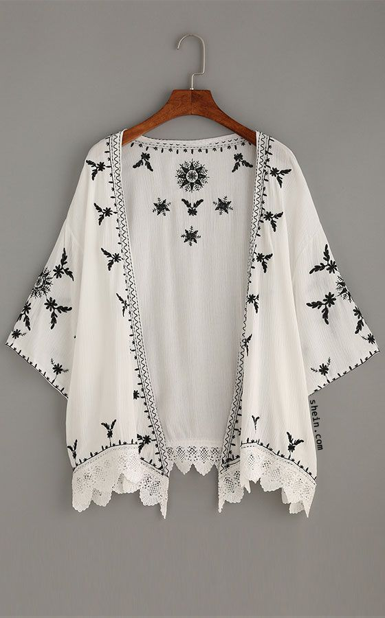Scalloped Crochet Trimmed Embroidered Kimono