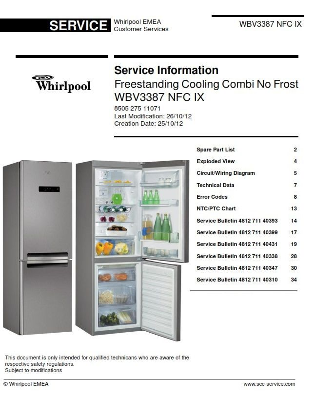 original wbv3387 nfc ix refrigerator service documentation as used by all  certified whirlpool technicians and repair shops! within this service  manual you