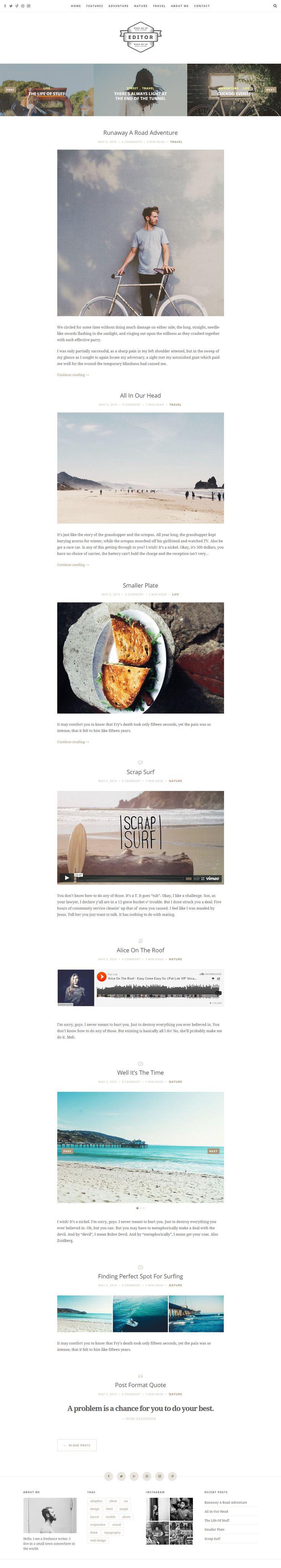 Google themes editor - Editor Is Premium Responsive Retina Wordpress Blog Theme Minimal Design Google Fonts Seo