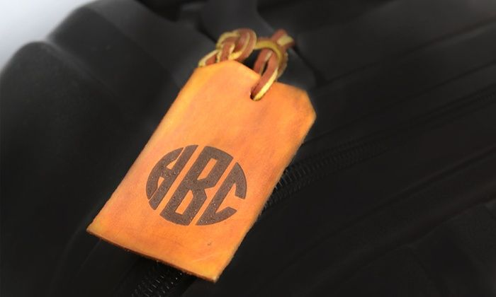 Monogram Online: Personalized Monogrammed Brown Leather Luggage Tag from Monogram Online