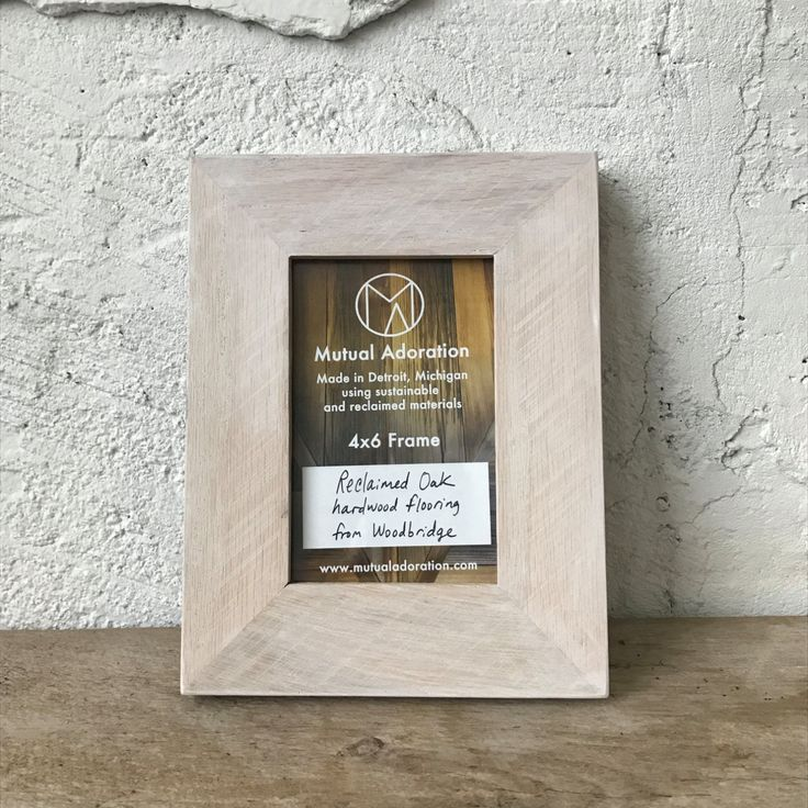 4x6 Picture Frame | Reclaimed Wood Frame | Small 4x6 Photo Frame | Made in Detroit | Bright Rustic Whitewashed Warm White Oak |Ready to Ship