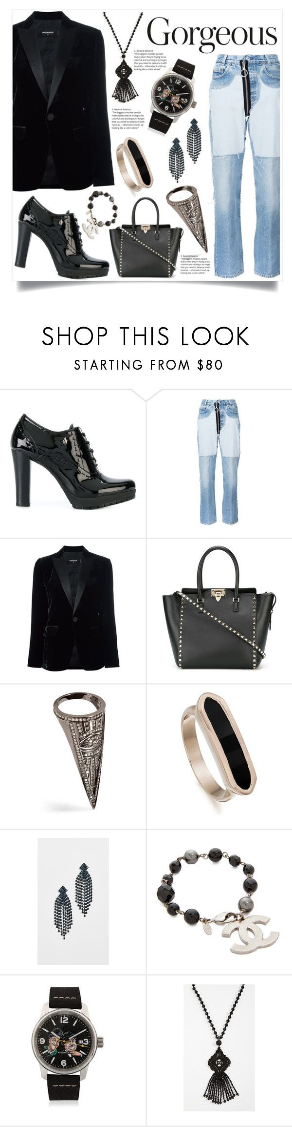 """""""Passion for fashion"""" by justinallison ❤ liked on Polyvore featuring Armani Jeans, Off-White, Dsquared2, Valentino, Lynn Ban, Monica Vinader, Kenneth Jay Lane and Kate Spade"""