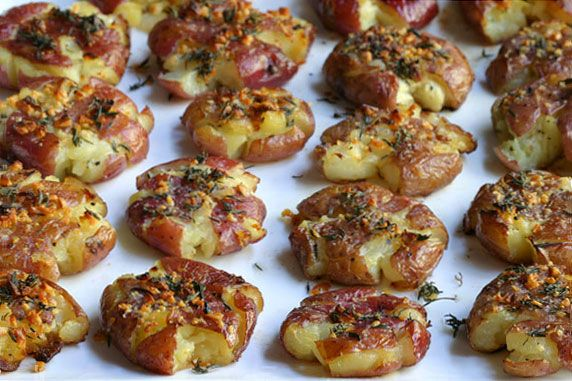 smashed red potatoes - I boiled the potatoes instead of baking them for the first step. I think it helped keep them softer and more moist for when I baked them.
