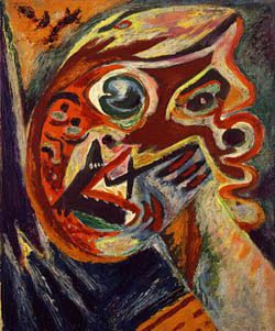 """""""Orange Head"""" (1938-42), by Jackson Pollock. Collection Lee Krasner Pollock. At 26 Pollock suffered a breakdown caused in part by creative blocks and alcoholic binges. Sessions with a Jungian psychoanalyst convinced him that emotions had become the central challenge in his life and work."""