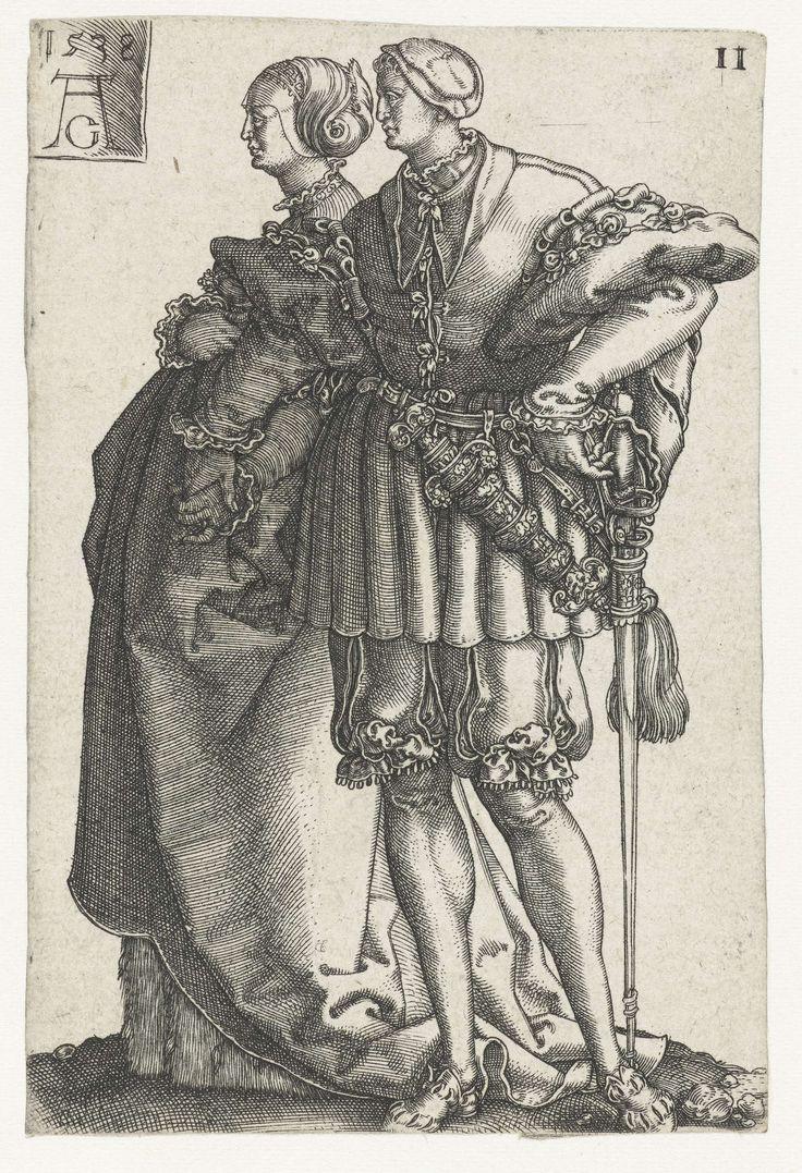Heinrich Aldegrever | Dansend paar no. 11, Heinrich Aldegrever, Hans Schäufelein, 1538 | Man en vrouw, dansend hand in hand. Elfde prent uit een serie van twaalf, vrij naar een prent van Hans Schäufelein.
