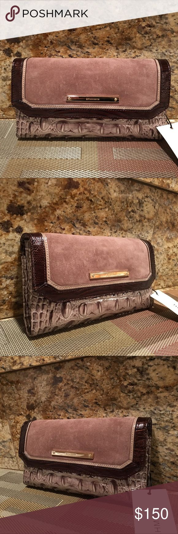 Brahmin Chardonnay Clermont Soft Checkbook Wallet New with tag. Comes with pen, check cover and registration car Brahmin Bags Wallets