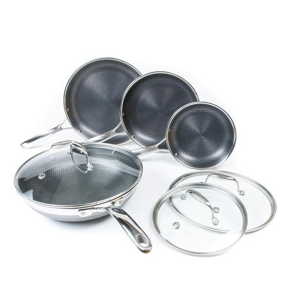 7pc Hexclad Hybrid Cookware Set W Lids Wok In 2020 Cookware