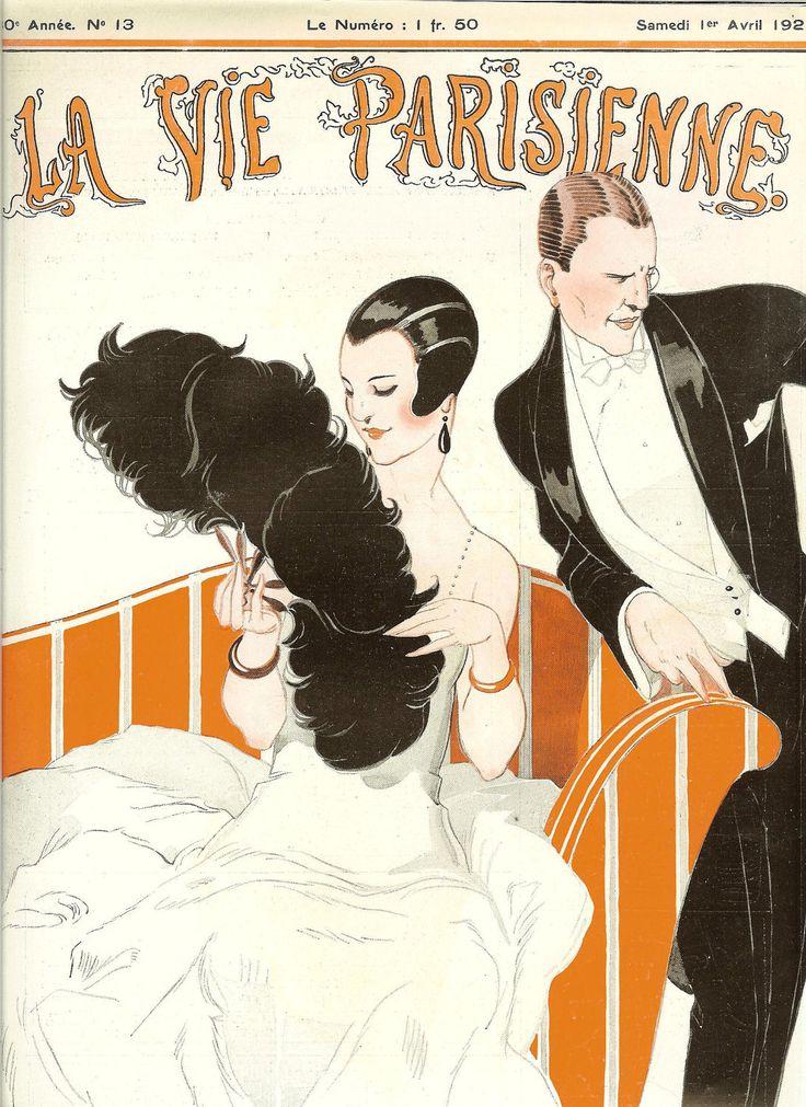 France. 1920s Art Deco La Vie Parisienne French Fashion Magazine Cover Print By Rene Vincent .