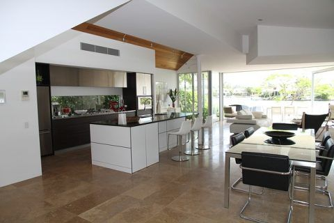 How Concrete Flooring Can Help You Achieve The Minimalist Look - Minimalist Open Plan Kitchen, lounge, dinner.