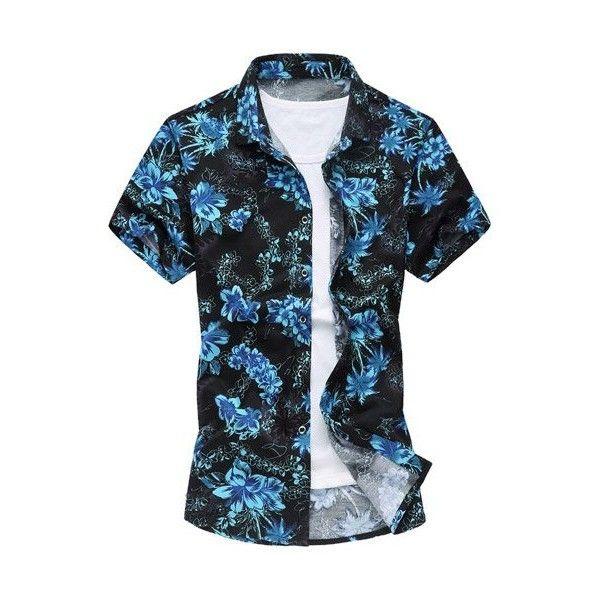 Short Sleeve Hawaiian Cotton Shirt (34 BAM) ❤ liked on Polyvore featuring men's fashion, men's clothing, men's shirts, mens short sleeve shirts, men's casual shirts, mens hawaiian shirts, men's hawaiian print shirts and mens short sleeve cotton shirts