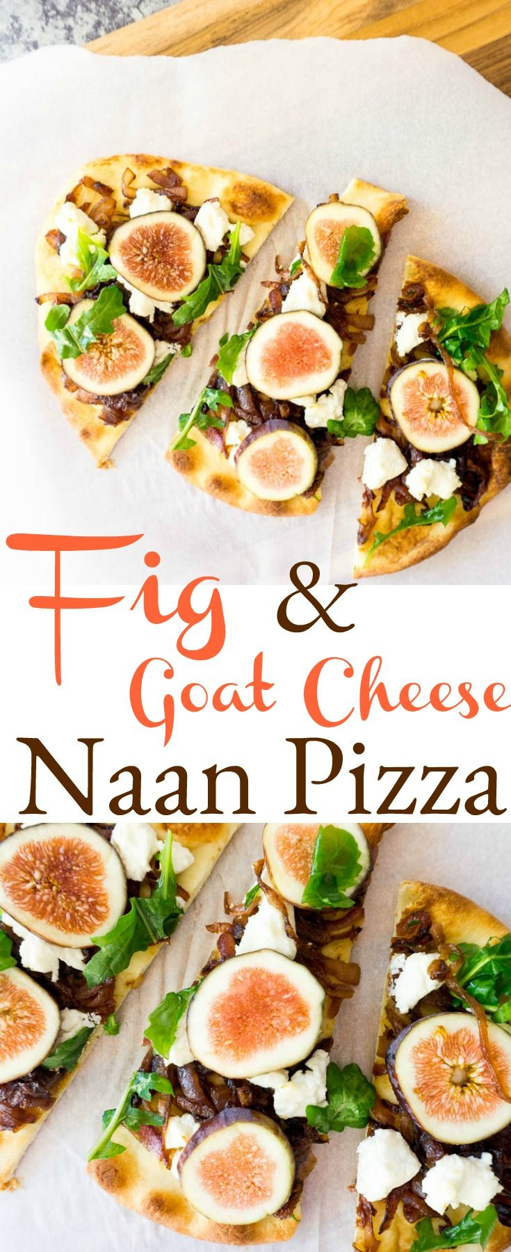 The sweet and savory of this #fig and goat cheese #naan pizza makes it the perfect lunch, appetizer or light dinner that everyone will love.