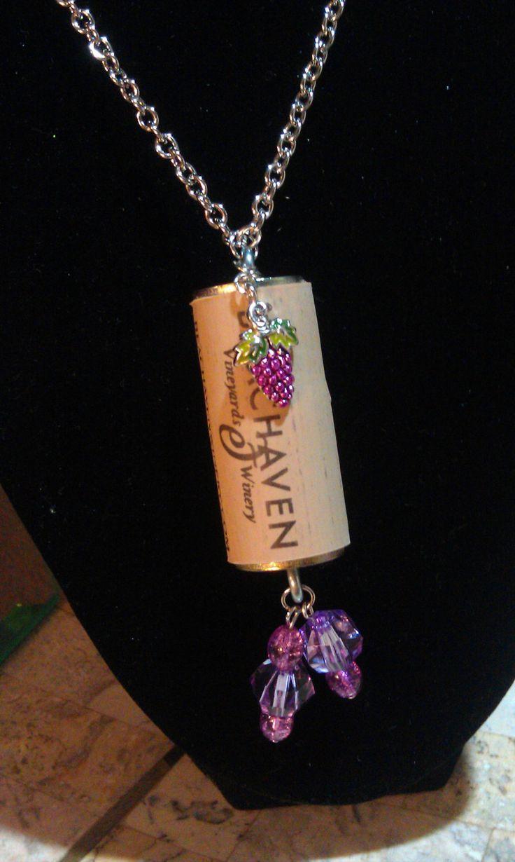 Wine Cork Necklace with Grape Charm. $12.00, via Etsy.