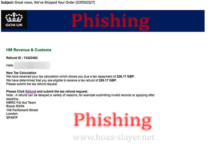 "HM Revenue & Customs ""New Tax Calculation"" Phishing Scam Email"