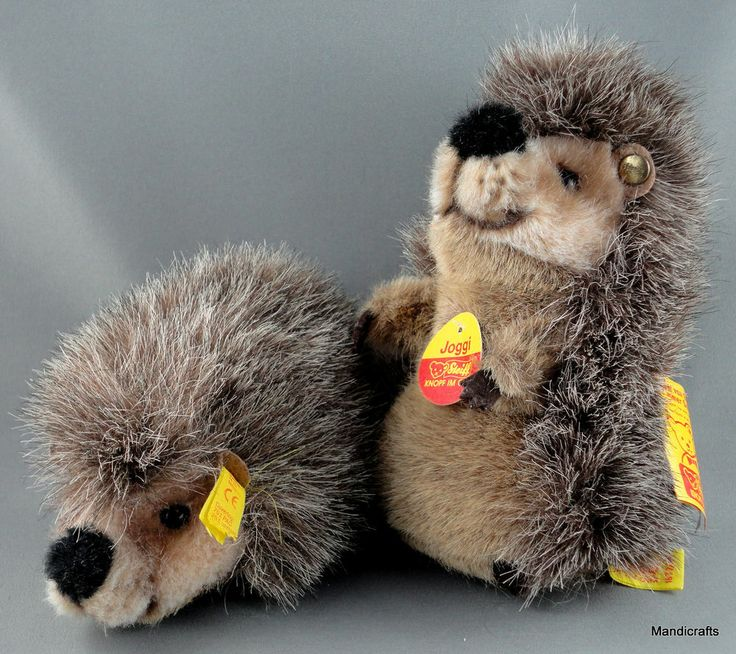 Steiff Joggi Tipped Plush Hedgehog x 2 Standing Lying ID button  tag 1980s 90s