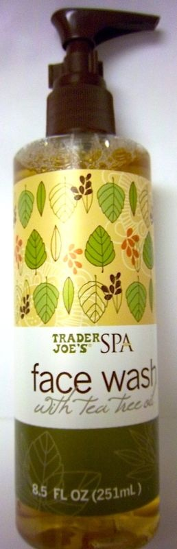 Trader Joe's SPA face wash with tea tree oil ~ This is my favorite face wash. Can be ordered online for a few more bucks than at Trader Joes where it is usually around 6 bucks and lasts forever!