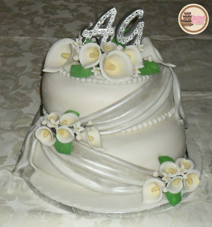 25th Wedding Anniversary Cake with Gumpaste Calla Lily - Torta Nozze d'Argento