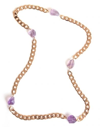 Amethyst Long Gold Necklace