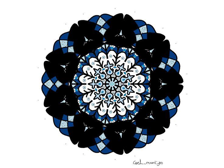 Mandala Blue Black
