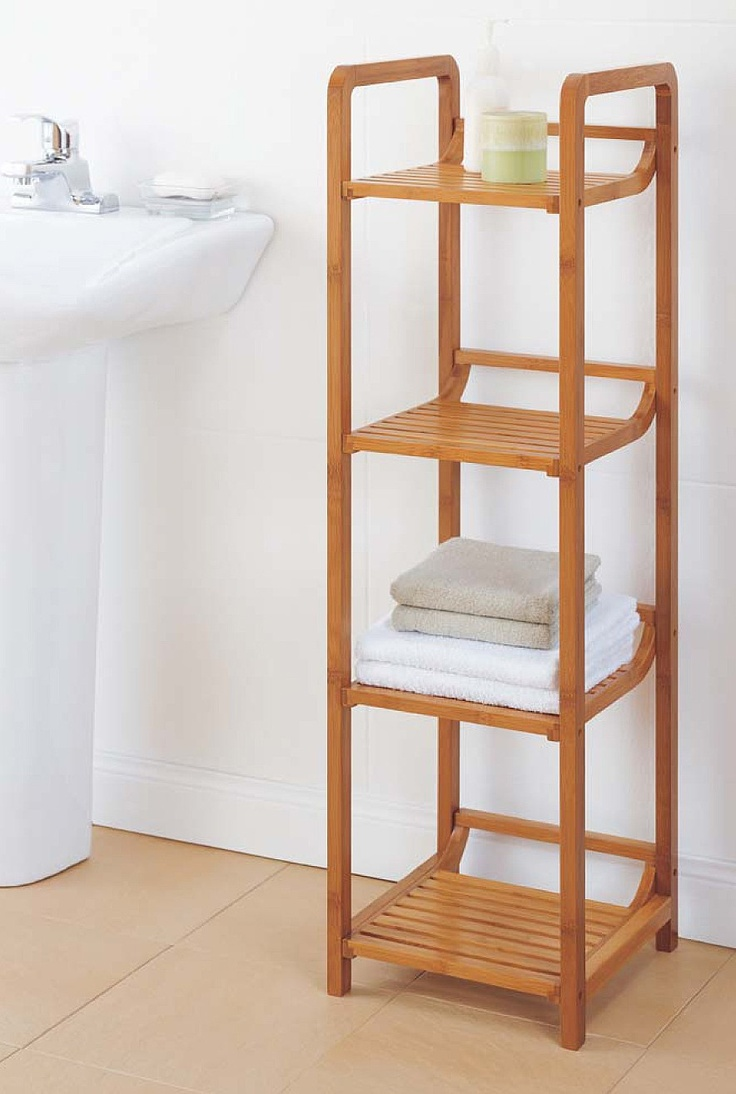 Bamboo bathroom shelf unit - 4 Tier Bamboo Shelving Tower The Holding Company Uk