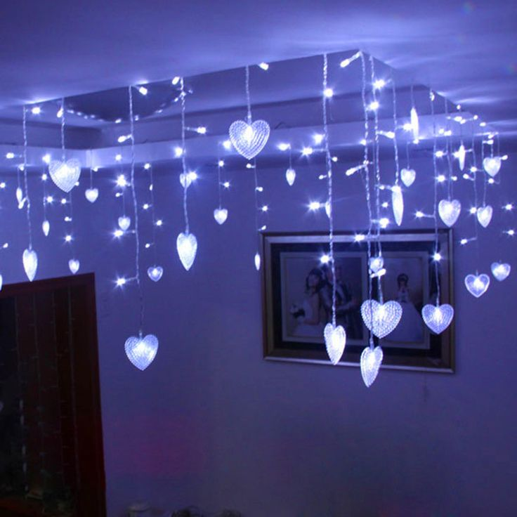 8m Fairy Heart cortina de LED Curtain Garland Christmas Lights guirnalda de luces Holiday luces decoracion Wedding lights #Affiliate