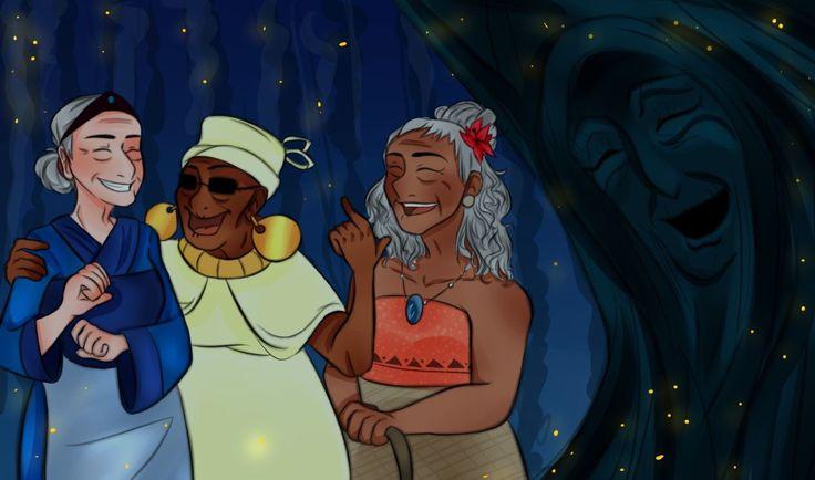 Disney's old ladies: Grandma Fa, Mama Odie, Gramma Tala, and Grandmother Willow.