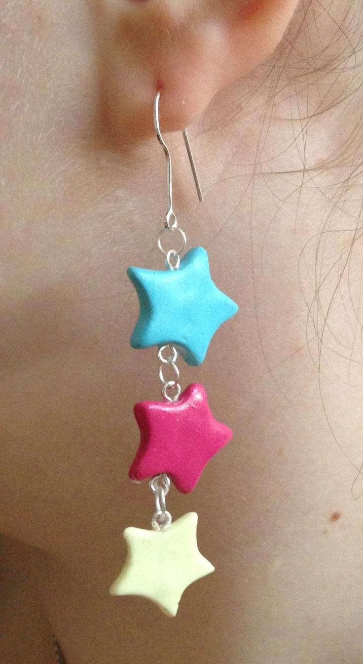Dangling clay star earrings