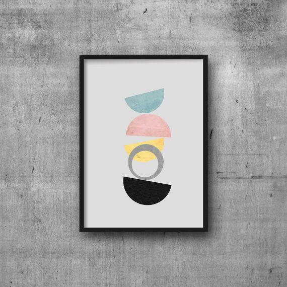 Midcentury modernes Poster Geometrie Kunst Retro von MissLillemor