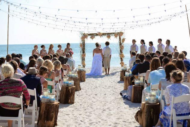 Couple S Wedding Ceremony And Reception Held At The Beach: Treasure Island, Sunset Beach Wedding