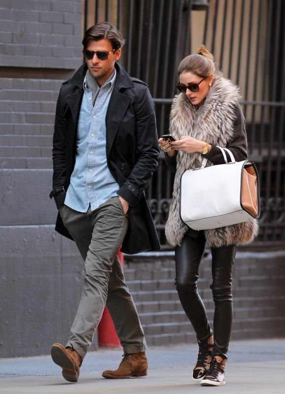 Olivia Palermo wearing Daryl K Stretch Leather Pants in Black, Lanvin High Top Sneakers, Anya Hindmarch White Butter Leather, Bensoni Fur and Rolex Oyster Perpetual Datejust Watch.