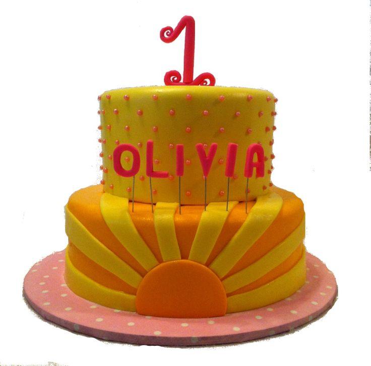sunshine birthday cake in lemonade colors yellow and pink strawberry cake with lemon buttercream and chocolate cake with buttercream enrobed in fondant - Enrob Color