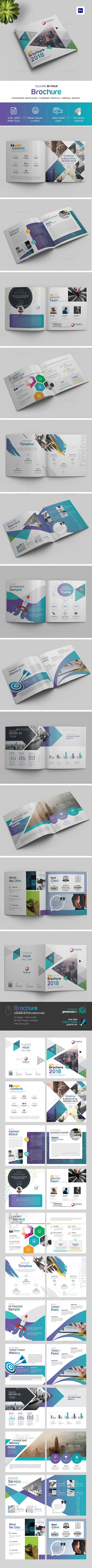 Square BiFold Brochure — Photoshop PSD #corporate #informational • Available here ➝ https://graphicriver.net/item/square-bifold-brochure/20917452?ref=pxcr