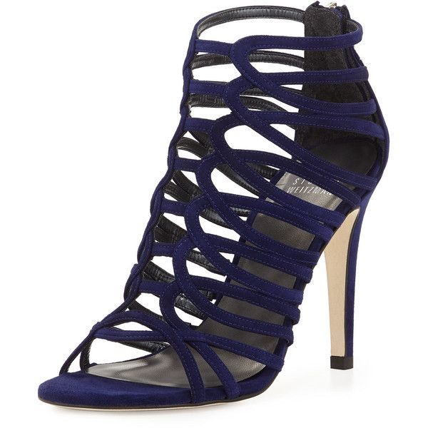 Stuart Weitzman Loops Strappy Cage Sandal ($284) ❤ liked on Polyvore featuring shoes, sandals, heels, ink, strap heel sandals, stuart weitzman sandals, open toe shoes, stuart weitzman shoes and suede sandals