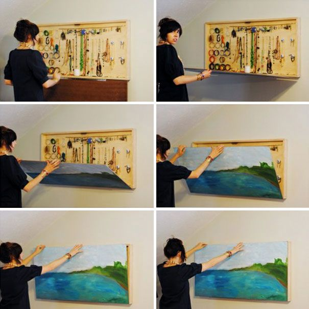 idée intéressant pour camoufler nos petits objets, bijoux ou autres tableau-placard-mural