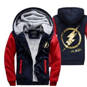 The Flash Cosplay Coat Zipper Hoodie Winter Fleece Thicken Jacket Sweatshirts RED AND NAVY BLUE L
