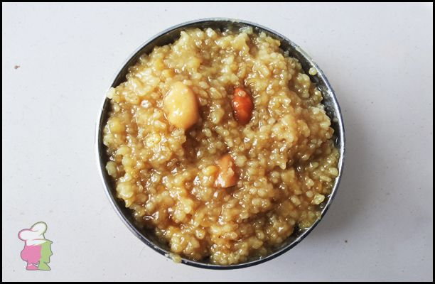 Barnyard Millet Sweet Pongal (Kuthiraivali inippu Pongal) - Learn the recipe of easy and healthy sweet millet Pongal at http://ourvivaha.com/vivahakitchen/recipe/barnyard-millet-sweet-pongal/