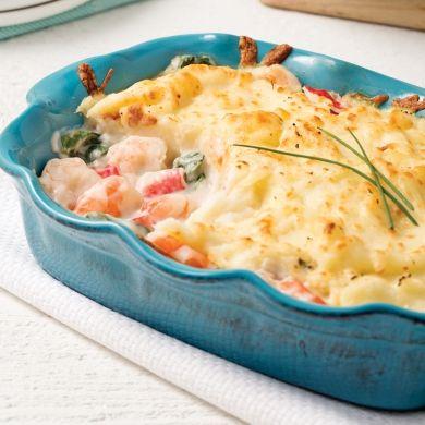 Gratin de crevettes et goberge - Soupers de semaine - Recettes 5-15 - Recettes express 5/15 - Pratico Pratique