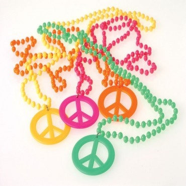 Retro Party Beads - 6mm Beads with Peace sign Pendant - Novelty Toy Party favors and Carnvial Redemption prizes | Party Supply Store | Novelty Toys | Carnival Supplies | USToy.com