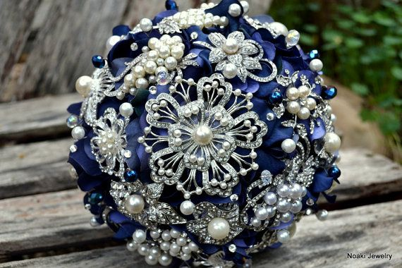 Sapphire pearl wedding bouquet, brooch bouquet -- deposit on a made to order bridal bouquet