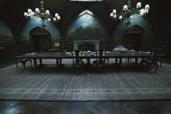 What an perfect long dining table - and the room is so gothic! Dark Shadows sets dining room