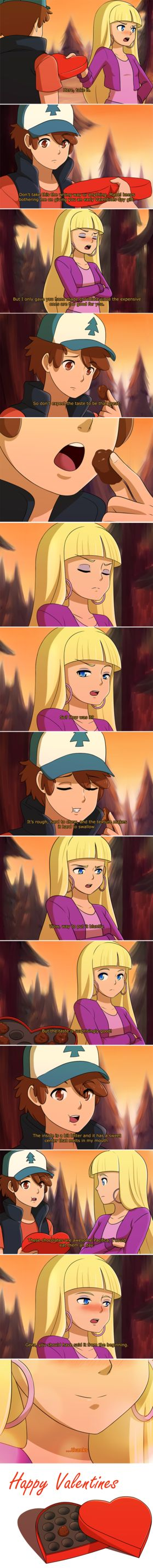Gravity Falls - Valentines by Mgx0 on DeviantArt ... Dipper and Pacifica... Yes, i ship it ❤(/^▽^)/
