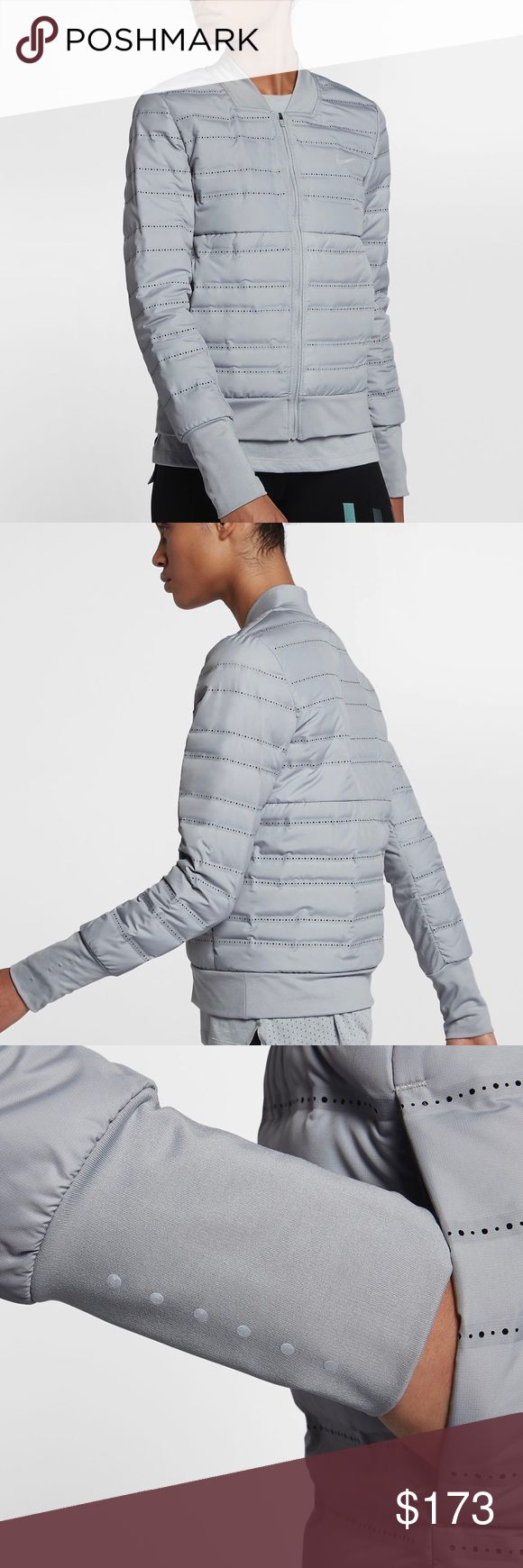 ❤️NWT❤️ NIKE Aeroloft Running Jacket ~ S brand new with tag size S grey comes from smoke free home 100% guaranteed authentic F18000088  Inspired by the classic bomber silhouette, the Nike AeroLoft Women's Running Jacket provides warmth on your run and a modern look all day. Ideal over a light hoodie or your favorite tee, this innovative jacket helps keep you warm without overheating. Nike Jackets & Coats Puffers