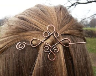 Celtic copper hair clip barrette – Vikings hair holder – Shawl pins – Womens Gift For her – Rustic jewelry – Celtic knot genuine gemstone