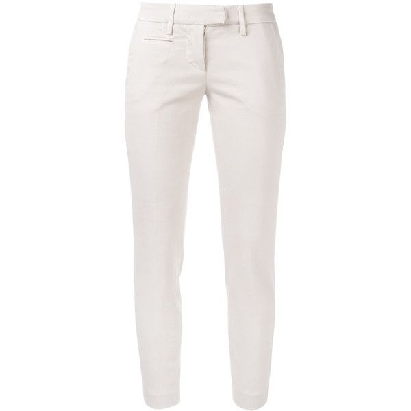 Dondup Asian cigarette trousers (24510 RSD) ❤ liked on Polyvore featuring pants, pink, cigarette trousers, white pants, white cigarette trousers, white cigarette pants and white trousers